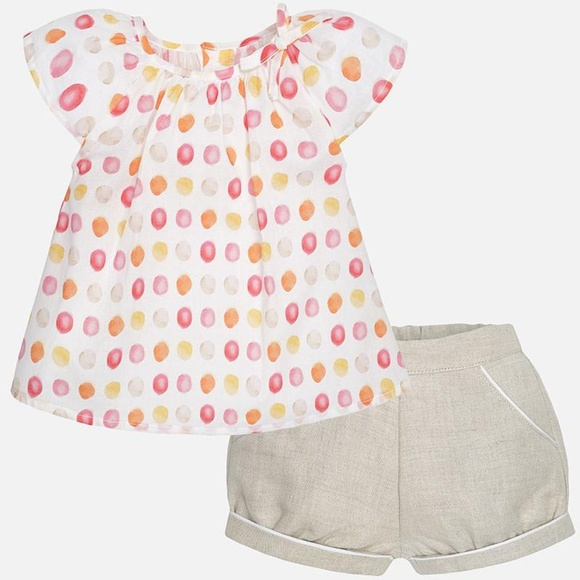 995dc6304 Mayoral Baby Girl Blouse with Short Sleeves + Shor